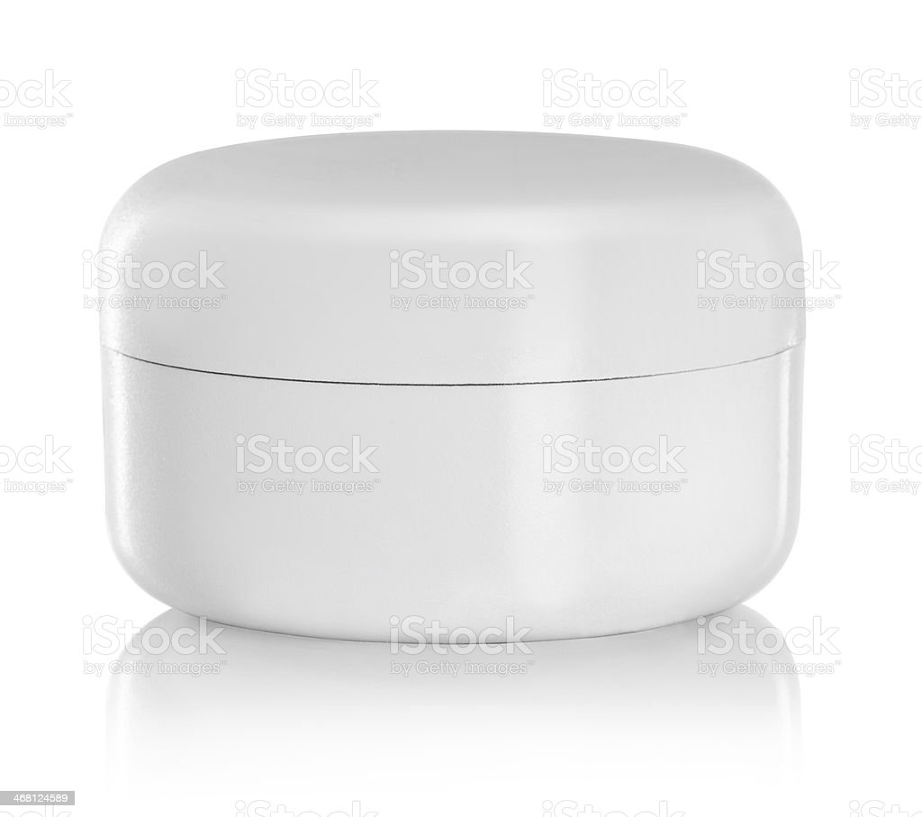Simple white beauty container on reflective white background stock photo