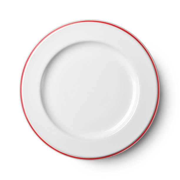 simple white circular plate - plate stock pictures, royalty-free photos & images
