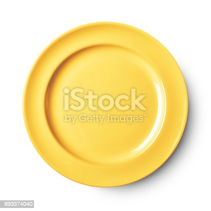 Empty ceramic round plate isolated on white with clipping path