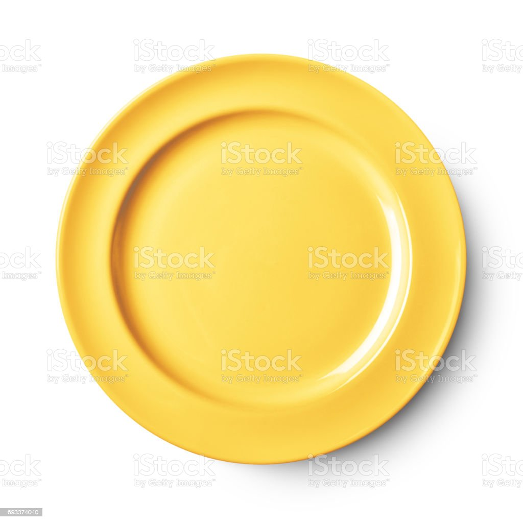 Simple white circular plate stock photo