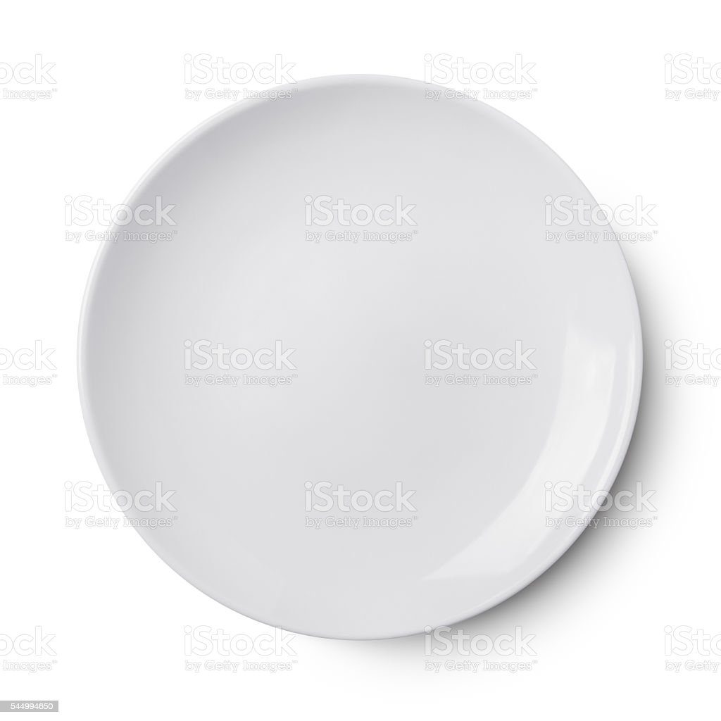 Simple white circular porcelain plate - Photo