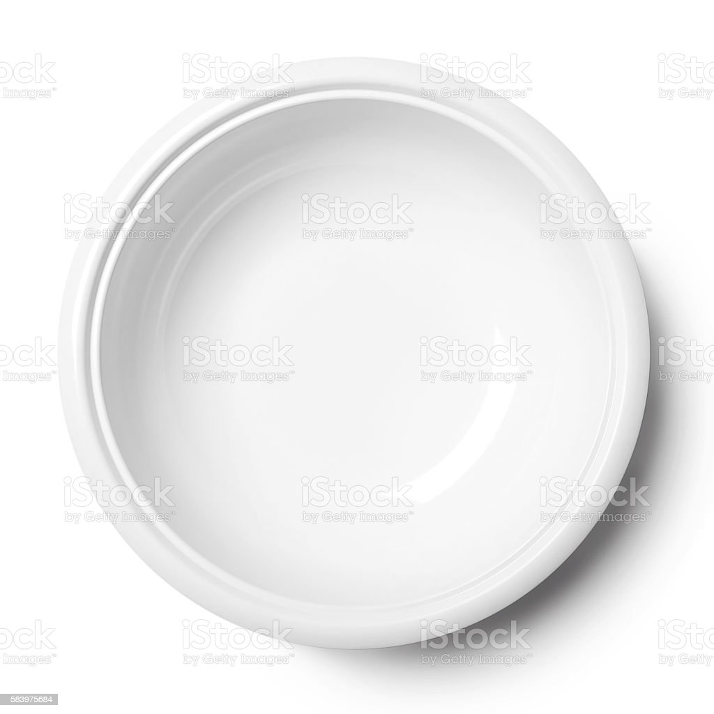 Simple white circular porcelain plate stock photo