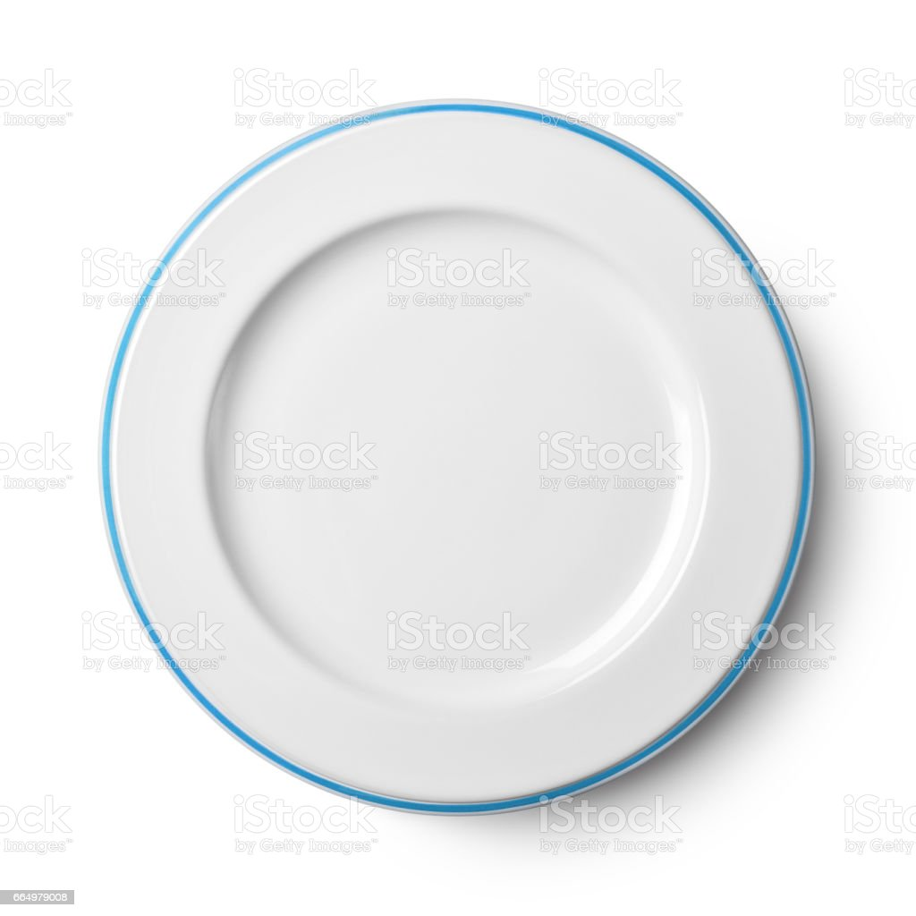 Simple white circular porcelain plate with clipping path stock photo