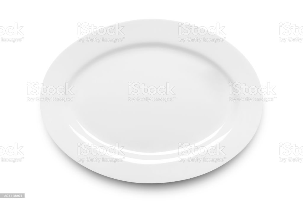 Simple white ellipse plate stock photo
