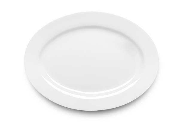 simple white ellipse plate - ellipse stock photos and pictures