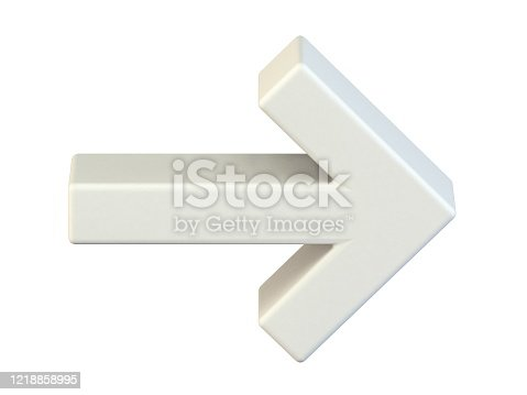 1144228372 istock photo Simple white right arrow icon 3D 1218858995