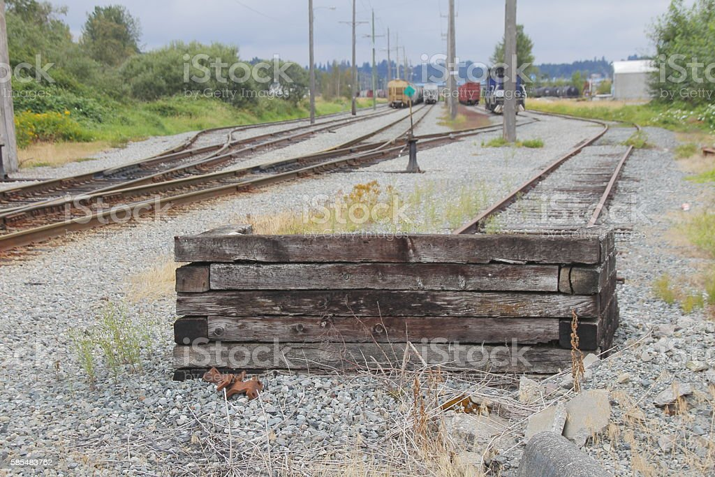 Simple Wood Train Barrier stock photo