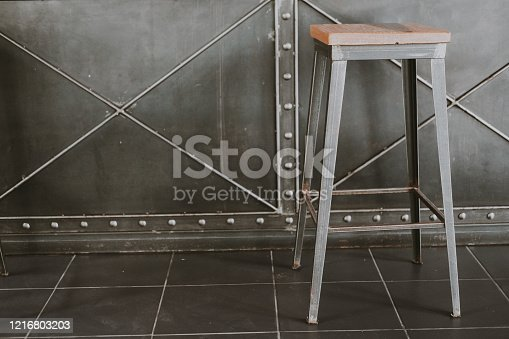 Simple wooden bar stools in coffee shop
