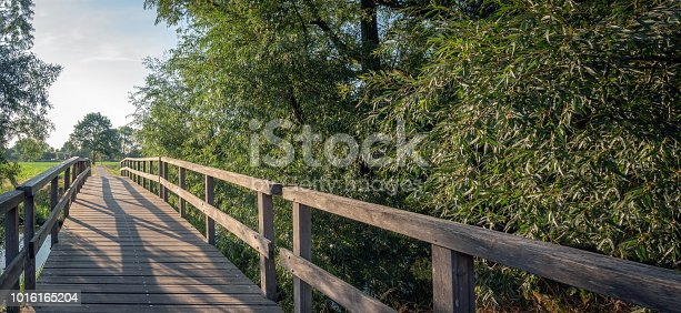 Simple wooden footbridge over a stream next to some willow trees. It is a sunny evening in the Dutch summer season.