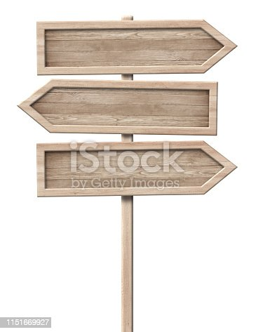 istock Simple wooden tripple direction arrow signpost roadsign made of natural wood with single pole and bright frame 1151669927
