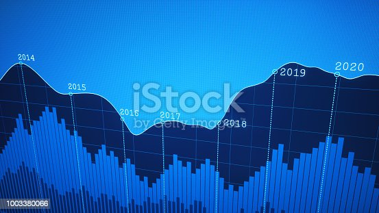 istock Simple Yearly Timeline Graph Report Blue 1003380066
