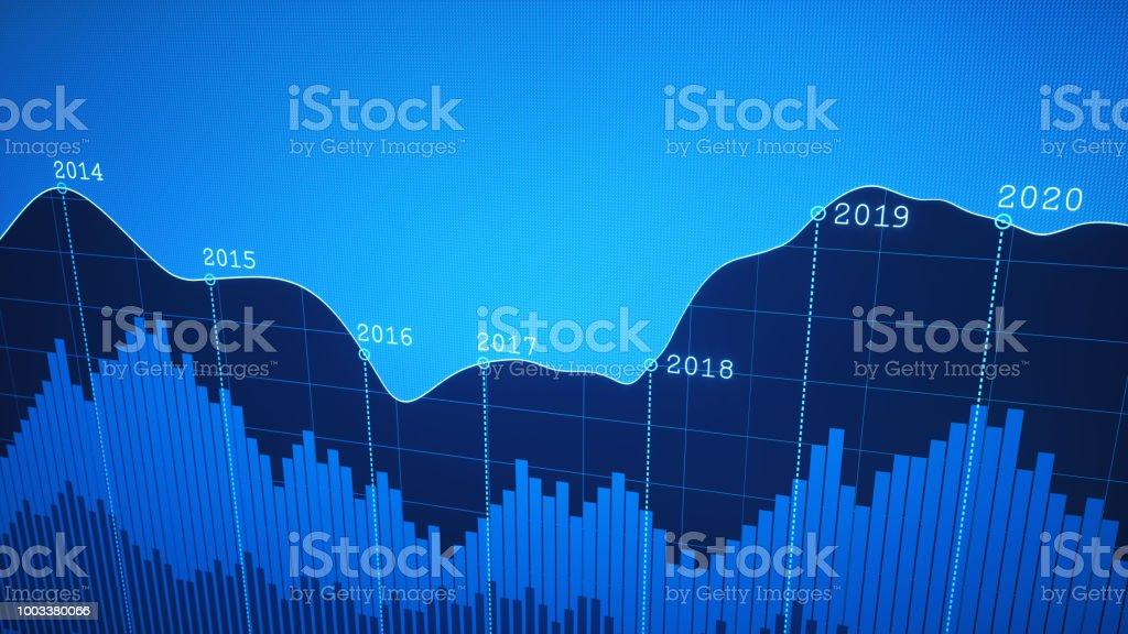 Einfache jährliche Timeline Diagramm Bericht blau – Foto
