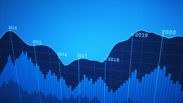 Simple Yearly Timeline Graph Report Blue stock photo