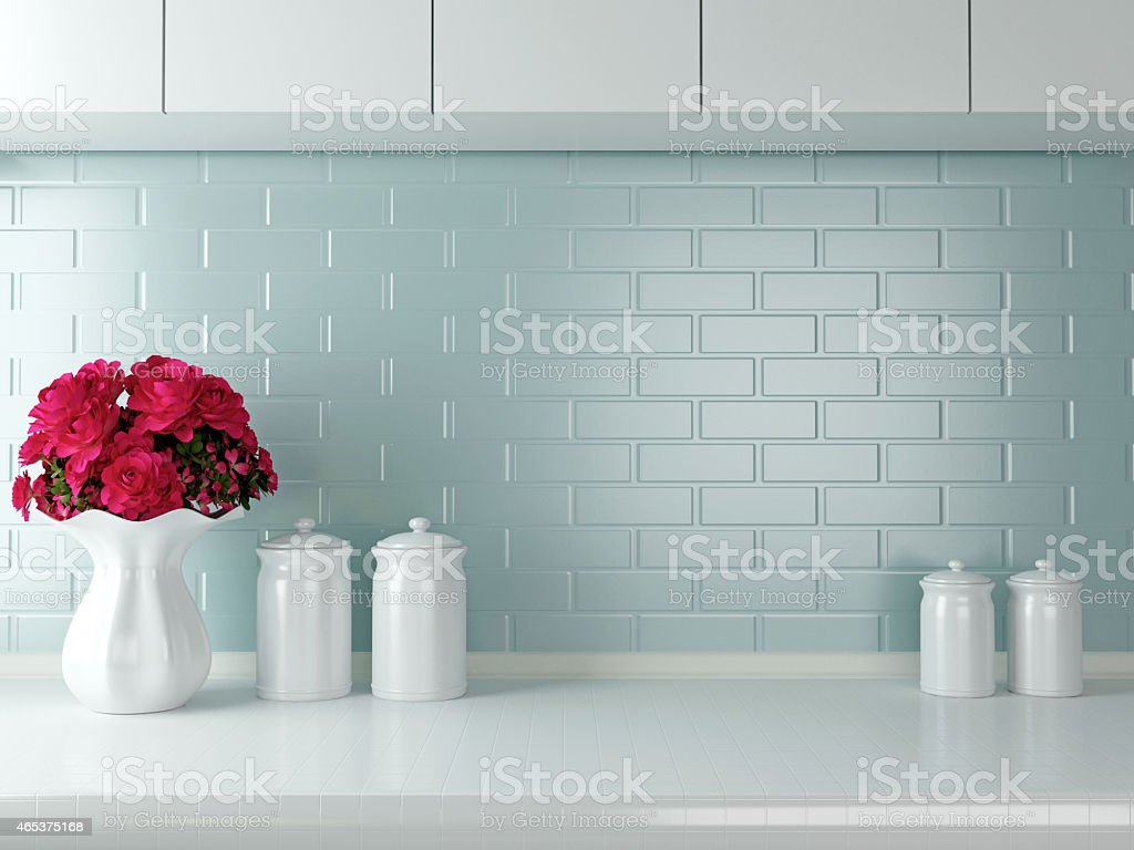 Simple yet elegant white kitchen  stock photo