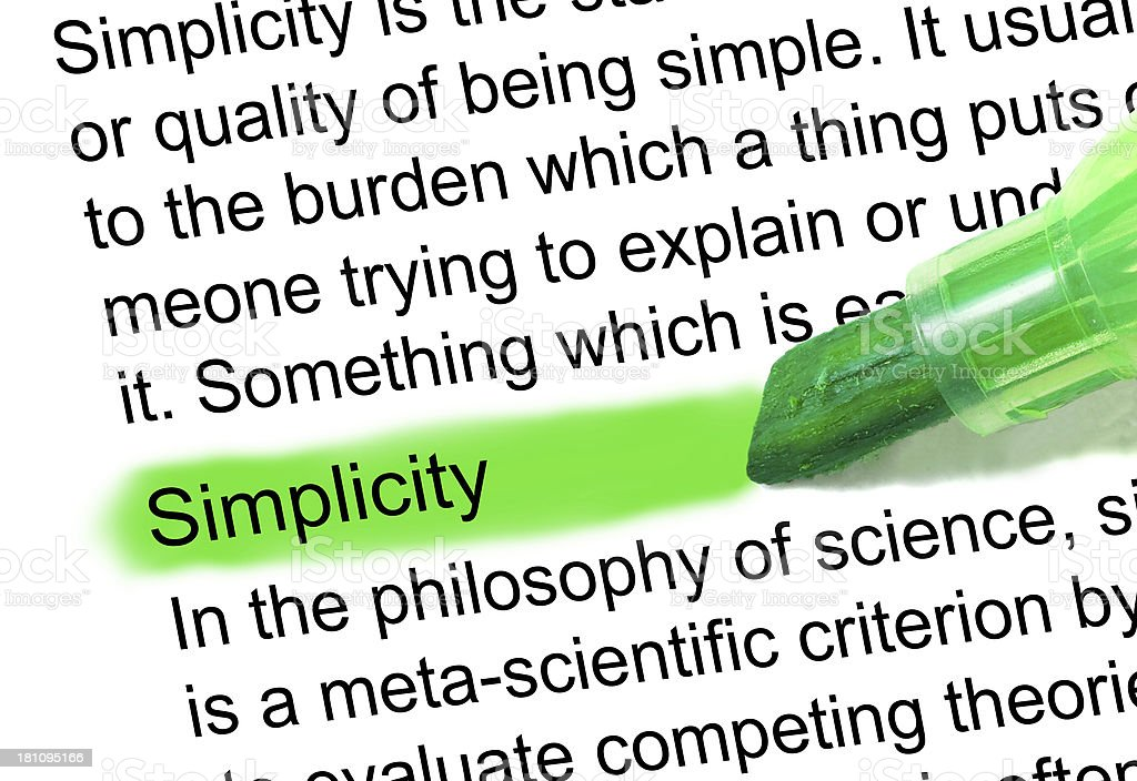 simplicity definition highlighted in dictionary stock photo