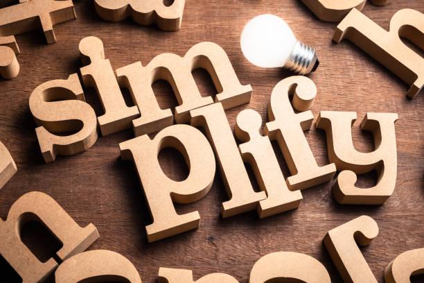 semplifica parola legno - semplicità foto e immagini stock