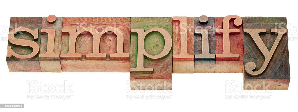 simplify - word in letterpress type royalty-free stock photo