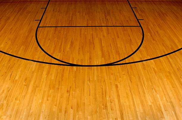 simplistic aerial view of a basketball court - speelveld stockfoto's en -beelden