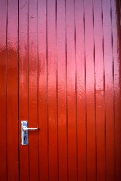 simply a red,wooden door stock photo