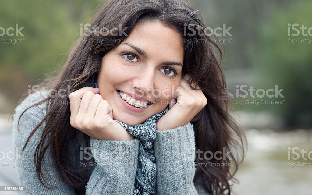 Simply Beautiful, Candid Braces Smile (XXXL) royalty-free stock photo