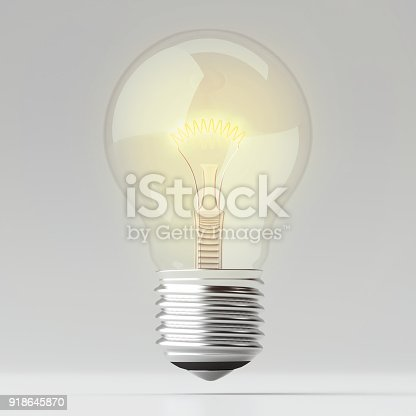 istock Simply lighting Bulb on White background - 3d illustration. 918645870