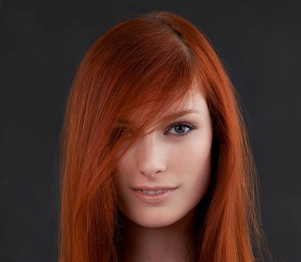 simply red - woman green eyes red hair stock photos and pictures