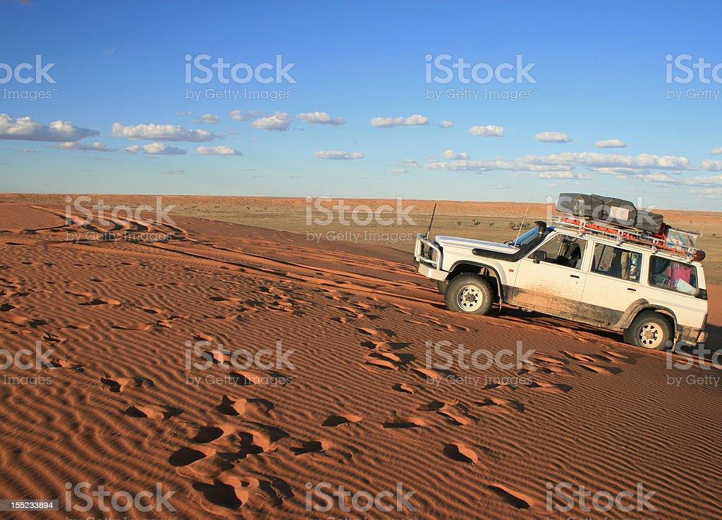Simpson Desert Travelling, Big Red Dune, 4x4 stock photo