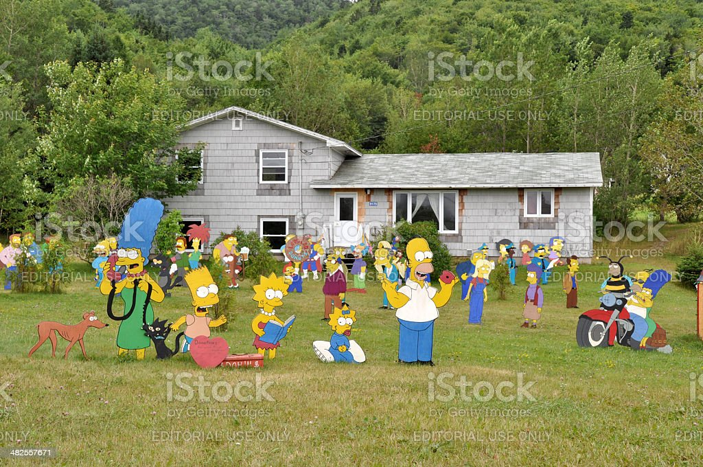 Simpsons in the garden stock photo