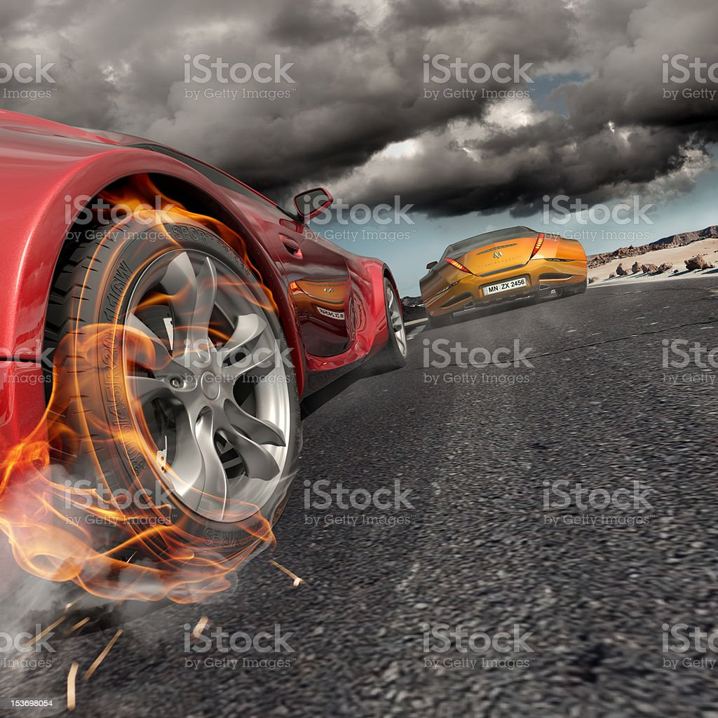 Simulated fire on a car to show speed stock photo