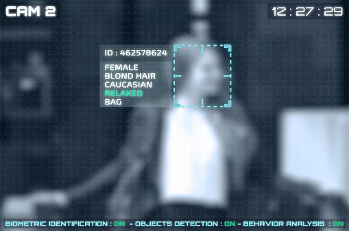 Simulación De Una Pantalla De Cctv Cámaras Con Reconocimiento Facial Foto de stock y más banco de imágenes de Adulto