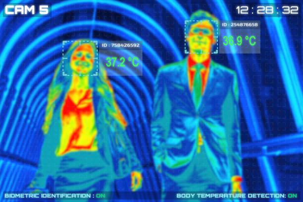 simulation der körpertemperaturkontrolle durch thermoscan oder infrarot-wärmebildkamera - medizinischer scanner stock-fotos und bilder