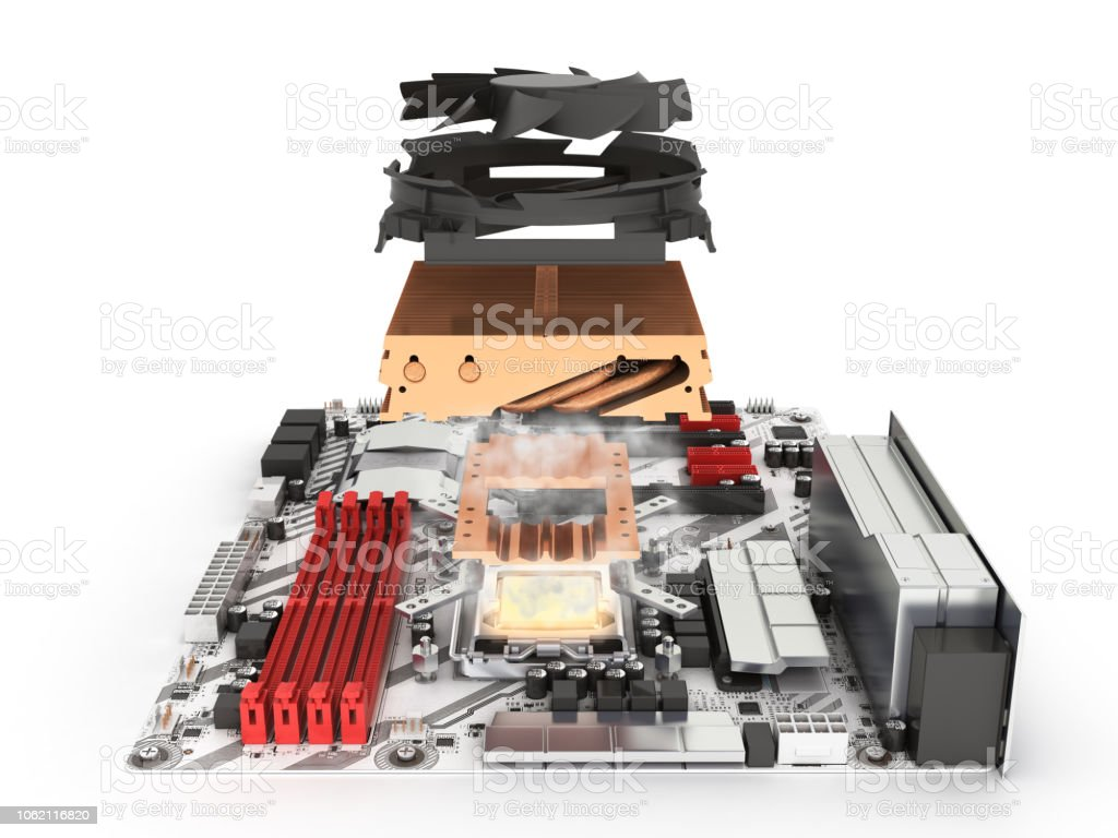Simulation Of Cpu Overheating Motherboard Complete With Processor