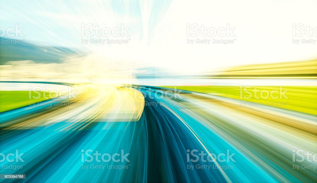 VR simulation of speeding near the lake stock photo