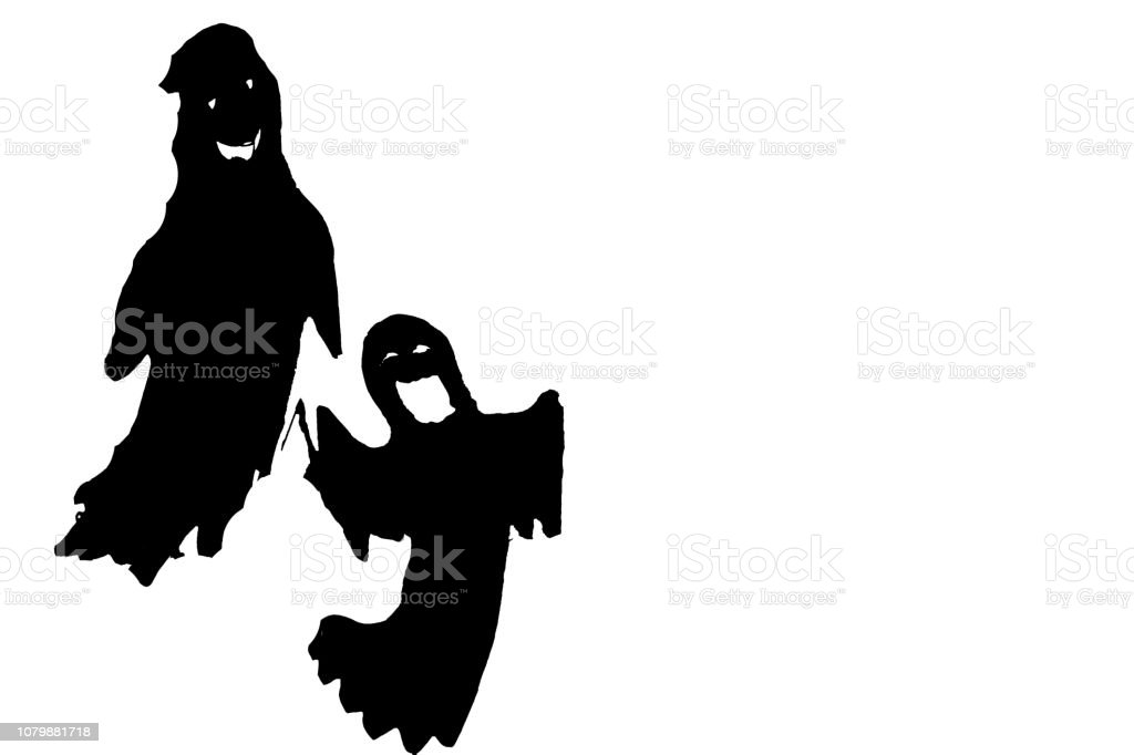 Simulation of terror with ghosts and tombs stock photo