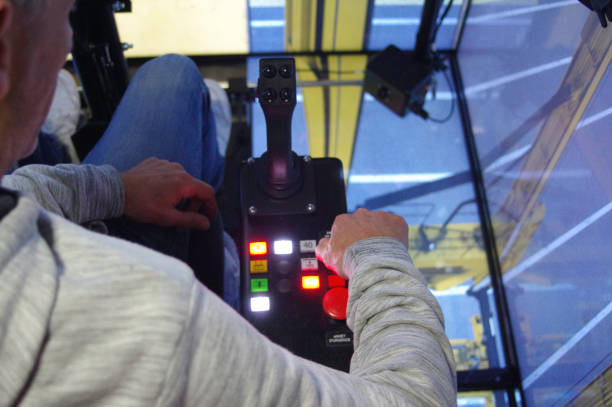 Simulator for training of drivers. Machine control. stock photo
