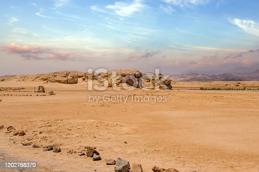 Landscape Sinai Head of Lion Rock mountain rock formations sandy plateaus. national park Ras Mohamed Sharm-el-Sheikh, Hidden bay Egypt Africa.