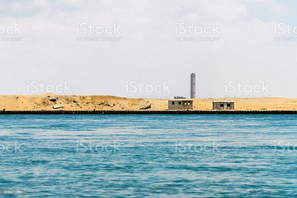 Sinai Side of Suez Canal stock photo
