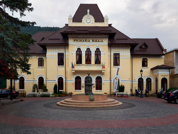 Sinaia Town Hall in Sinaia, Romania stock photo
