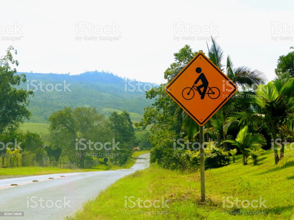 Sinalização de trânsito na bicicleta. stock photo
