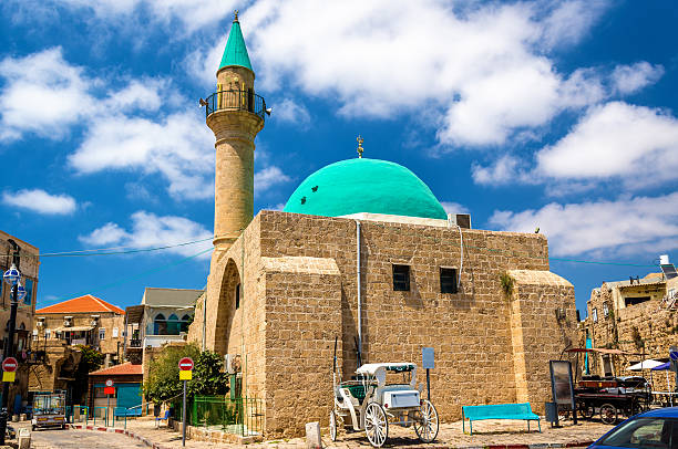 Sinan Basha Mosque in the old town of Acre stock photo
