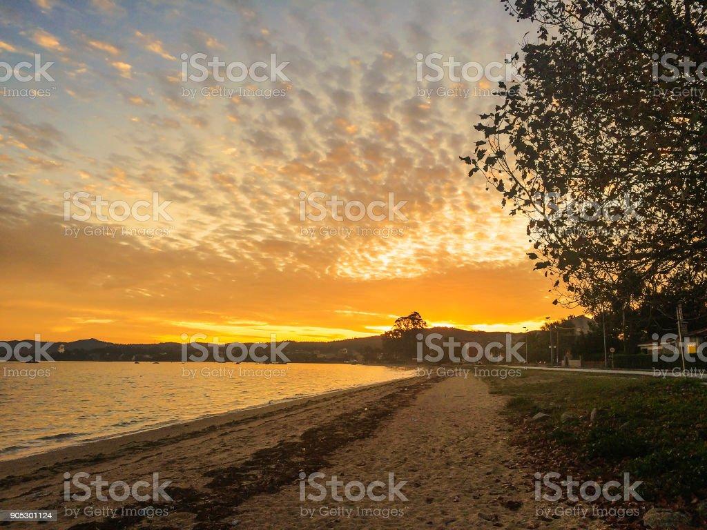 Sinas beach at dawn stock photo