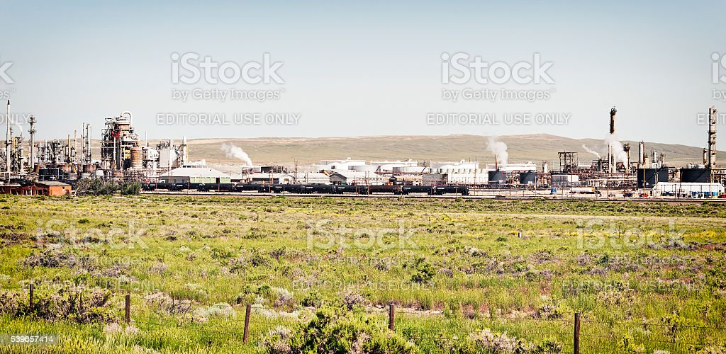 Sinclair Wyoming Oil Refinerary along side Highway near Rawlins stock photo