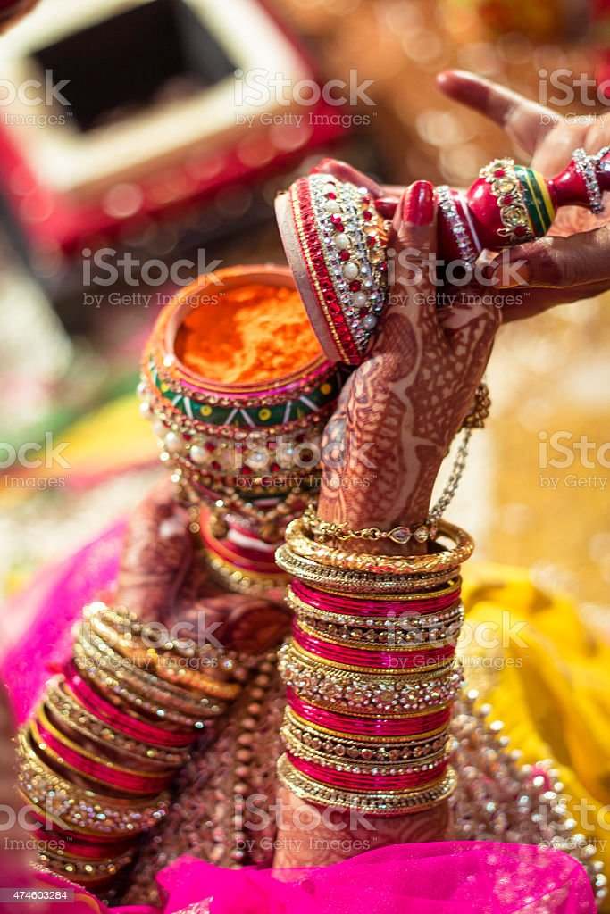 Sindoor case holded by an Indian bride stock photo