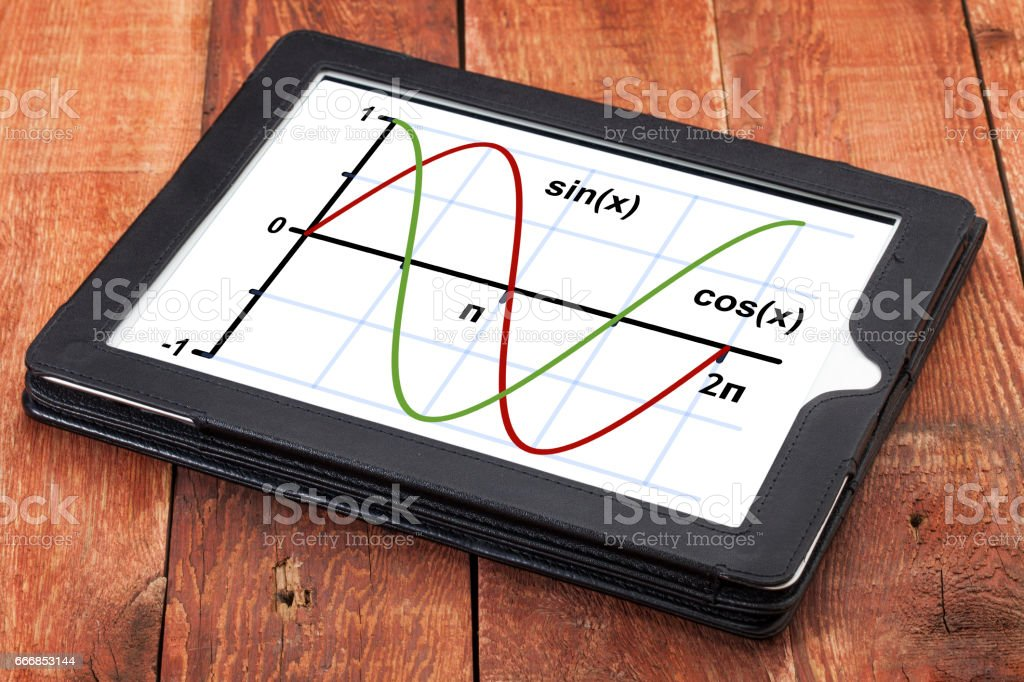 sine and cosine function graph on tablet stock photo