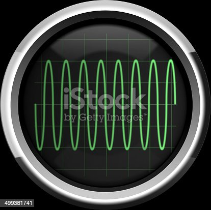 istock Sine signal on the oscillograph screen in green tones 499381741