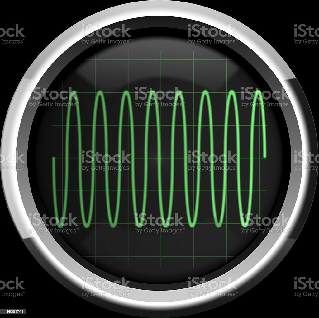 Sine signal on the oscillograph screen in green tones stock photo