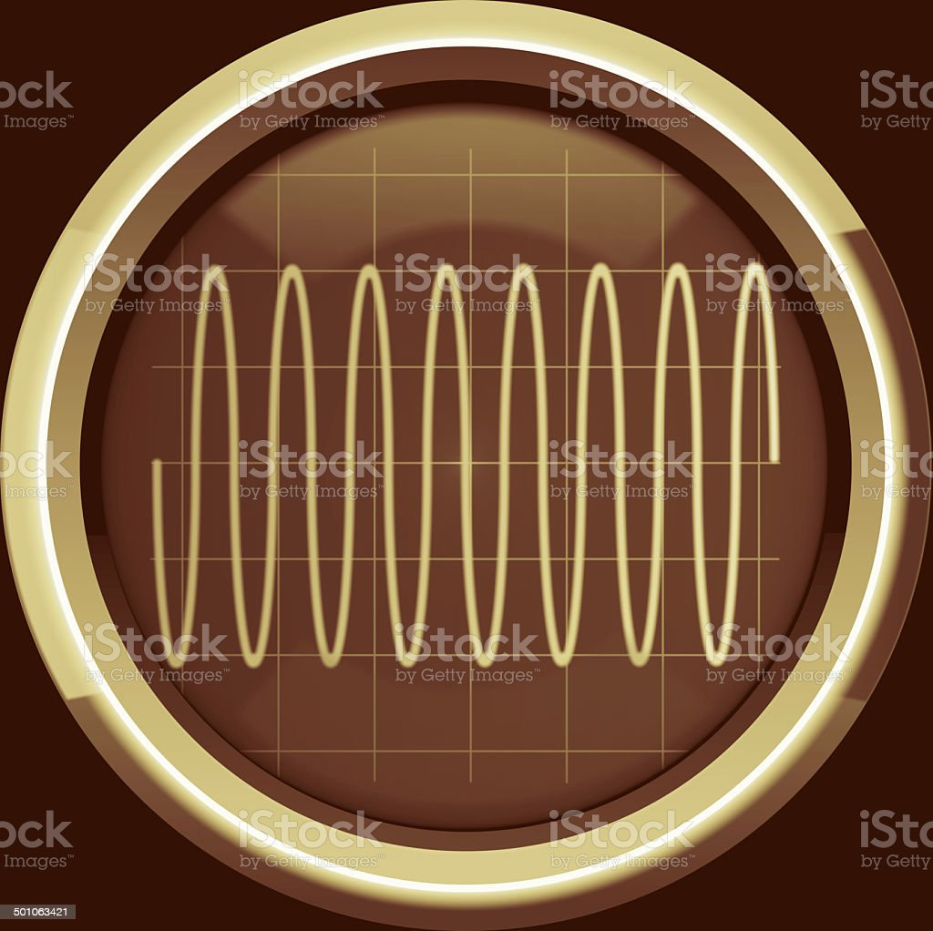 Sine signal on the oscilloscope screen in brown tones stock photo
