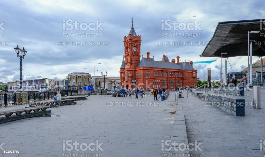 Sinedd, National Assembly building and Pierhead builidng. stock photo
