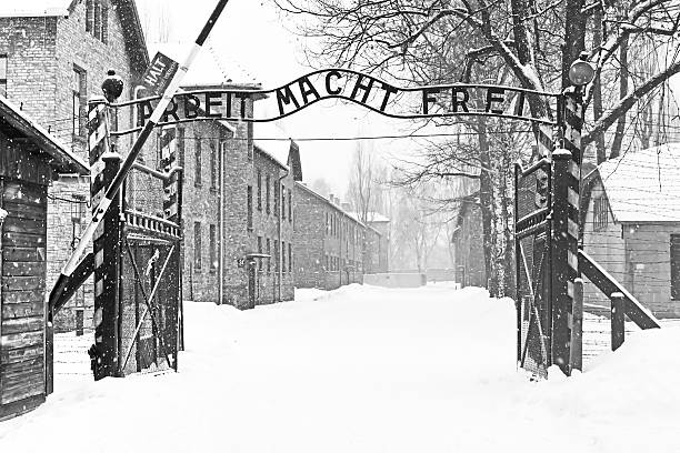 chanter arbeit macht frei (travail, libérant d'auschwitz birkenau ii - shoah photos et images de collection