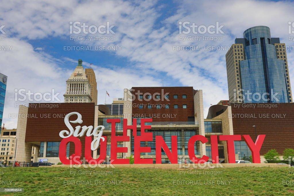"Sing the Queen City 3D art in Cincinnati CINCINNATI, OHIO - JUNE 18, 2017:  ""Sing the Queen city"" is a 3D sculpture that is part of Cincinnati's Artworks urban public art project. Art And Craft Stock Photo"